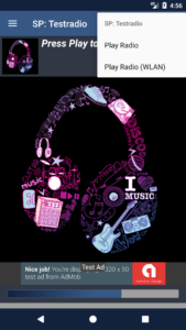 STREAMPANEL Apps V4 Mehrere Webradios untermenü