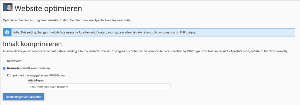 Enable compression in web hosting package