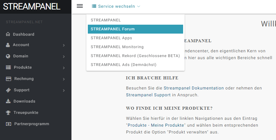 Change Service: STREAMPANEL Forum